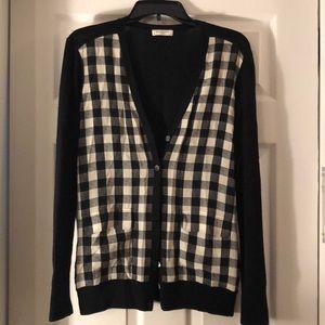 Black and white checkered Equipment cardigan